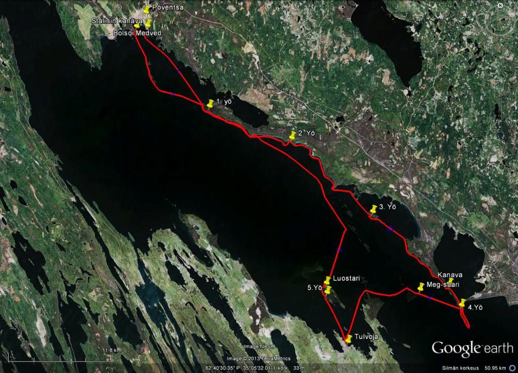 Pohjois Äänisen retken reitti. 130km