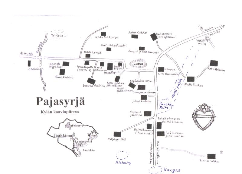 Pajasyrjä kylä kaavio